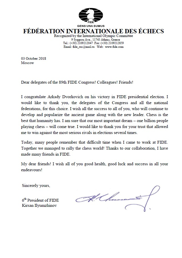 Letter from Kirsan Ilyumzhinov to all delegates of 89th FIDE Congress