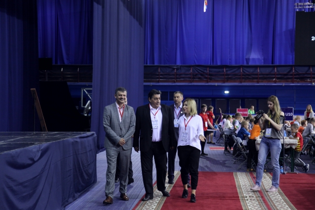 Minister of Sport Sergey Kovalchuk  FIDE Deputy President Georgios Makropoulos and President of Belarusian Chess federation Anastasia Sorokina